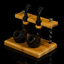Natural Bamboo Smoking Pipe Stand Rack Holder For 2 Smoking Pipes