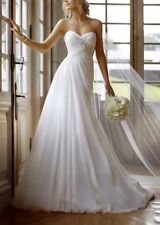 New Chiffon White/Ivory Wedding Dress Bridal Gown Uk Size 6-18