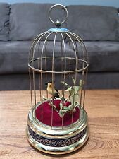Vtg antique wind up mechanical singing chirping bird automaton cage Schmid Bros