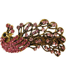 Pink Crystal Peacock Antique Gold Metal Hair Accessory Barrette Clip
