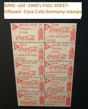 Vintage Germany Coca Cola 1960's Soda Pop COKE STAMP SHEET 10 Stamps MINT