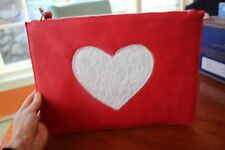 NWT Women Cherry Red Faux Leather Envelope Clutch Handbag Bag with Lace Heart