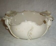 ANTIQUE 19th CENTURY CHINESE BLANC DE CHINE LOTUS LILY BOWL W/ RED JIANDING MARK