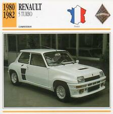 1980-1982 RENAULT 5 TURBO Racing Classic Car Photo/Info Maxi Card