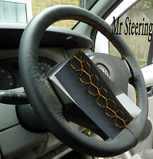 BLACK REAL LEATHER STEERING WHEEL COVER YELLOW STITCHING FOR HONDA JAZZ 04-12