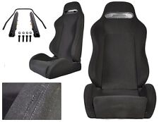 NEW 1 PAIR BLACK CLOTH & BLACK STITCHING ADJUSTABLE RACING SEATS CHEVROLET *****