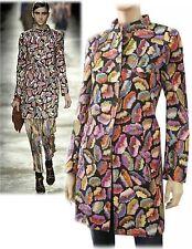 DRIES VAN NOTEN Black Floral Wool-Silk Hand-Screened Coat FR38/6 ~SO EXQUISITE!
