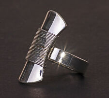 FUNKY SILVER TONE MASSIVE GEOMETRICAL RING EYE-CATCHING PIECE UK SELLER (ZX21)
