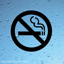 NO SMOKING BLACK SIGN WINDOW STICKERS CLEAR TRANSPARENT VINYL WATERPROOF X 2