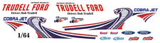 TRUDELL Ford 2013  MUSTANG COBRA JET NHRA  1/64th HO Scale Slot Car Decals