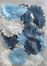 White Blue Navy Paper Flowers Pack of 36 Pieces Card Making & Scrapbook NEW