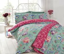 JAPANESE FLORAL BLOSSOM TEAL SINGLE COTTON BLEND REVERSIBLE DUVET COVER