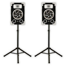 Acoustic Audio GX-400 PA Karaoke DJ Speakers 1200W 2Way Pair & Stands GX-400-PK2
