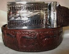 GENUINE CROCODILE HORNBACK SKIN LEATHER MENS BROWN BELT NEW SILVER ADJ- BUCKLE