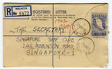 FEDERATION OF MALAYA - Registered Letter 6472, Malacca to Singapore March 1962