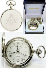 Mount Royal Masonic Hunter Pocket Watch Chrome Plated 17Jewel Free Engrave 411cm
