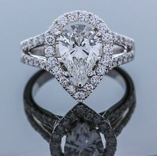18K White Gold with Diamond Halo For Pear Shape (Setting Only) Size-5.00