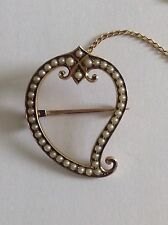 Charming Fine Victorian 9ct Gold & Seed Pearl Set Witches Heart Brooch
