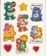 Vintage AGC Care Bears Sticker Sheet - Cartoon Clover Heart Cloud Teddy Star