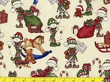 Holly Jolly Elf on Cream Christmas Quilting Fabric by Yard  #3132