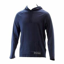 Blue Hugo Boss Men's Dark Cotton Long Sleeve Hooded Sweatshirt