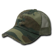 Vintage Snapback Distressed Mesh Trucker Baseball Cap Caps Hat Camo Camouflage