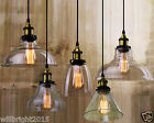 Industrial Vintage RETRO CLEAR GLASS SHADE CEILING LED CHANDELIER PENDANT LIGHT