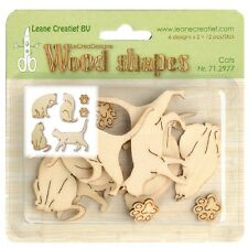 Leane Creatief Wooden Shapes Ornaments -  CATS 12pcs 71.2977 Wood