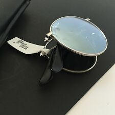 Ray-Ban RB3532 Round Metal Folding Sunglasses Silver Flash 50/20 NWT Italy Made