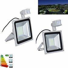 2X 50W LED PIR Motion Sensor Floodlight Cool White Outdoor Security Lamp IP65,