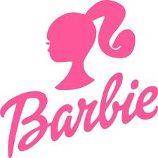 PINK BARBIE LOGO IRON ON T SHIRT TRANSFER WHITE/LIGHT FABRICS #2