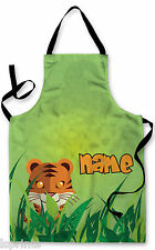 PERSONALISED JUNGLE TIGER CHILDRENS APRON BAKING PAINTING WATER ARTS & CRAFTS