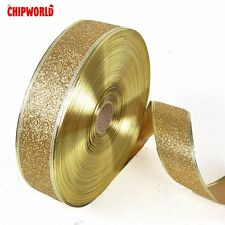 2M Christmas Ribbon Glitter Ribbon Xmas Party Decoration Xmas Gift Wrapping Gold