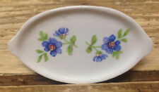 ANTIQUE Doll House Dollhouse Mini Oval Serving Platter Handles Blue Flowers #29