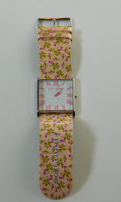 Betsey Johnson Large Beveled Glass Square Faced Rosebud Peach and Pink Watch