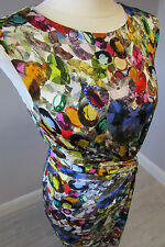 PHASE EIGHT JEWELS  PRINT DRESS - SIZE 10 - MULTI - FULLY LINED