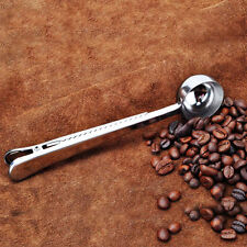 Stainless steel Cup Ground Coffee Measuring Scoop Spoon With Bag Sealing Clip