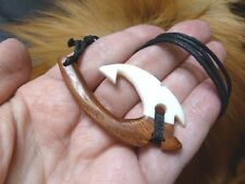 B25-D Koa WOOD aceh bovine BONE Maori FISH HOOK PENDANT Necklace Het Matau Style