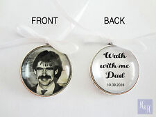Custom Double Sided Round Wedding Bouquet Photo Charm Memory Pin