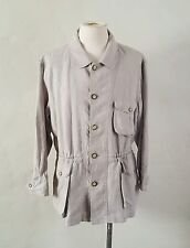VTG 1990s J Peterman ~ Beige Linen Coat ~ Cinch Waist ~ Safari/Field Jacket ~ M