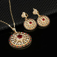 Fashion Gold Plated Jewelry Sets Multicolor Rhinestone Pendant Necklace Earrings