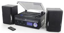 Steepletone Memphis2 5-in-1 Encode Turntable CD DAB Radio Music Centre Black