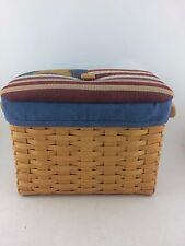 Longaberger 1999 Newspaper Basket Combo w Fabric Flag Lid