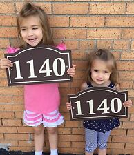 "Arched House Number Sign Address Plaque 14x8.5"" 1/4"" King ColorCore Brown/Tan"
