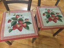 2 PC Red Country Strawberry Fruit Chair Pad Cushions Kitchen Dinning Decor