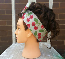 Retro Vintage Rockabilly Wire Headband Head Hair Scarf Bandana 50's Cherry Beige