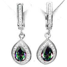 Silver 925 Pear Cut Green Purple Fire Genuine Mystic Topaz Dangle Earrings