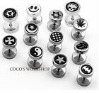 SILVER TITANIUM STAINLESS STEEL SCREW BACK SIDED SYMBOL STUD EARRING MENS WOMENS