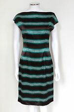 Prada Striped Brown Green White 2010 shift dress IT 42 UK 10