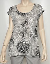 Tahari Marigold Knit Jersey Mix Media Top T-Shirt Tee Ash/Gray M Nwt $78